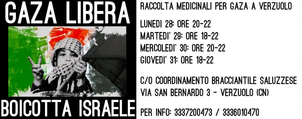 raccolta medicinali per Gaza